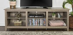 "WE Furniture 70"" Wood Media TV Stand Storage Console, Driftw"