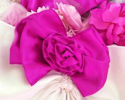 Accessories Hair Bows Pink Chiffon Satin Silver French Clip
