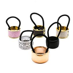Pack of 6 Alloy Metal Glitter Cuff Wrap Ponytail Holder Hair
