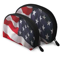 Makeup Bag Torn Or Weathered American Flag Handy Shell Beaut