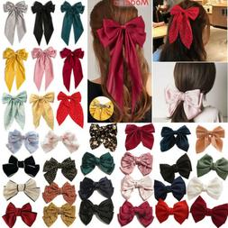 Big Bow Hair Clip Satin Barrette Hairpin Solid Color Ponytai