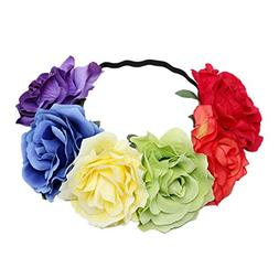 Lujuny Big Rose Flower Crown Headband - Floral Garland for B