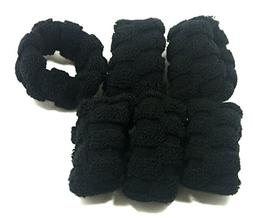 6 Pcs Black Fluffy Tire Hair Ties Scrunchies