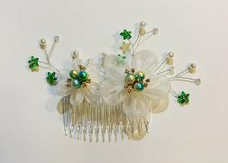 Bridal Hair Comb made with Satin Fabric Flower and Faux Pear