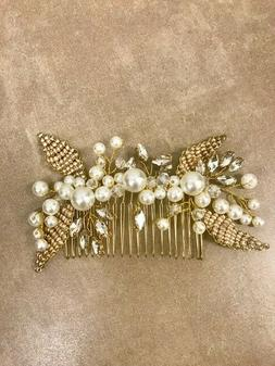 Bridal Hair Comb with Beads and Rhinestones Gold Color
