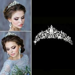 Aukmla Bridal Wedding Crown and Tiara with Crystals for Brid