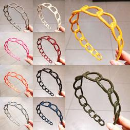Candy Color Hollow Hair Hoop Headband Plastic Non-Slip Hairb