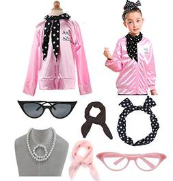 Child 1950s 50's Pink Ladies Jacket Outifit Accessories Set
