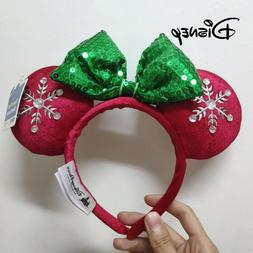 Disney Christmas Headband Mickey Ears Snowflake Winter Style