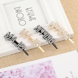 Crystal Barrettes Rhinestone Head wear Letters Hair Pin Hair