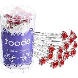 eBoot 40 Pack Crystal Hair Pins Rose Flower Rhinestone Hair