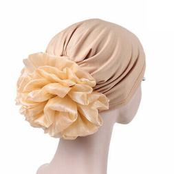 Women Hats Accessories Side Big Flower Pullover Turban Chemo