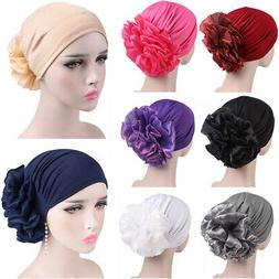 Keep Warm Women Hats Wrap Side Big Flower Soft Casual Chemot