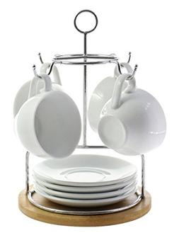 Elegant Ceramic Tea Cup and Saucer Set of 4 Drying Rack Incl