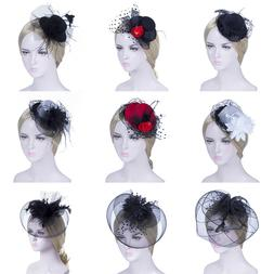Elegant Women's Mini Hat Hair Clips Feather Hats Veil Weddin
