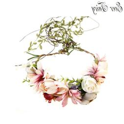EVER FAIRY Women Flower Crown Festival Wreath Ribbon With Ha