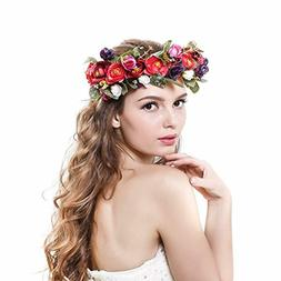 Ever Fairy Women Handmade Rose Flower Wreath Crown Wedding F