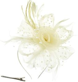 Dreshow Fascinators Hat Flower Mesh Ribbons Feathers On A He