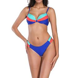 QBQCBB Fashion 2 Pieces Women's Beach Swimwear Spell Color B