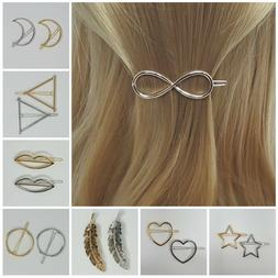 fashion barrette metal hair pin clip gold