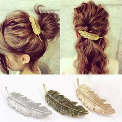 Fashion Women Leaf Feather Hair Clip Hairpin Barrette Bobby