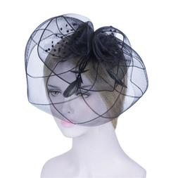 Fashion Women Mesh Mini Hats Hair Clips Feather Caps Veil We