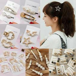Fashion Women Pearl Hair Clip Snap Barrette Stick Hairpin Bo