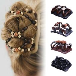 Fashion Wood Hair Clip Beads Stretch Double Slide Comb Women