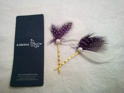 Aukmla Feather Peacock Bobby Pins, Hair Pin Hair Piece for P