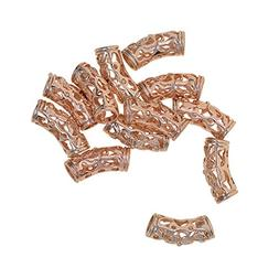 Fityle 12 Pieces Filigree Carve Curve Tube Spacer Charm Bead
