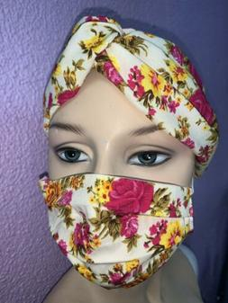 Floral Headband And Face Mask With Filter Boho Fashion Hippi
