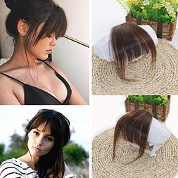 Ugeat Front Fringe Clip in Hair Extensions Dark Brown #2 One