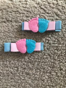 Handmade Gender Reveal Pink and Blue Little Feet Hair Clips