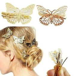 Girls Butterfly Hair Clip Elegant Gold Hairpin Wedding Barre