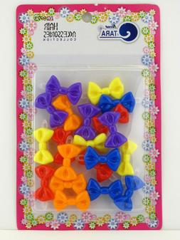 TARA GIRLS SELF HINGE PLASTIC BOW HAIR BARRETTES - 20 PCS.