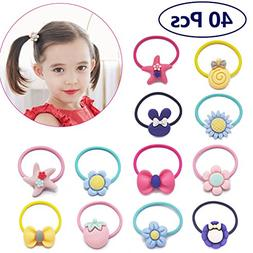 40 PCs Baby Girls Hair Bow Elastic Ties 1 Inch Mini Bow Pony