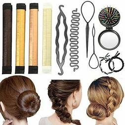 Hair Bun & Crown Shapers Styling Set, 11 Pack Maker Design T