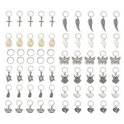 KeyZone 65 Pieces Hair Charms Hair Braid Rings Silver Butter