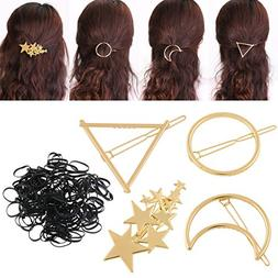 PIXNOR Hair Clip Accessories -4 Pieces Gold Hollow Geometric