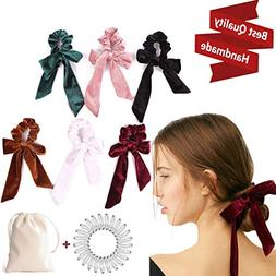 6Pcs Hair Scrunchies Bowknot Velvet Elastics Hair Bands Scru