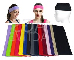 HEADBAND Wide Stretch Sports Yoga Gym Black Hair Band Wrap S