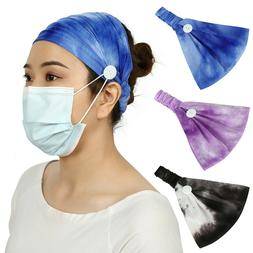 HDE Headbands with Buttons for Mask - 3 Pack headband with B