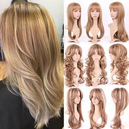 Highlight Blonde Full Hair Wigs with Bangs Cosplay Party Bro