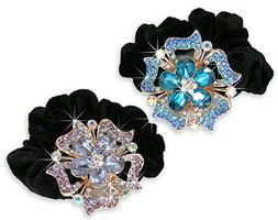 Jeweled Flower Black Elastic Hair Tie Scrunchie - Set of 2 -