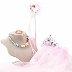 Kids Flower Girl Veils Crown Hairband Magic Wand Necklace Br