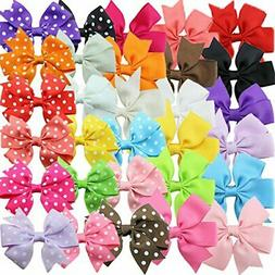 Habibee Kids Toddlers Grosgrain Ribbon Hair Bows for Girls B