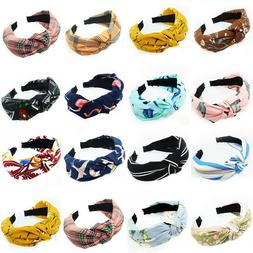 Knot Plastic Hairbands Headbands for Women Girls Fabric Flor