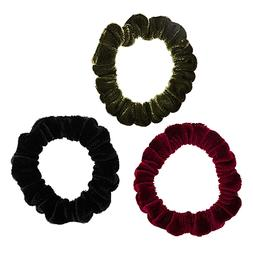L. Erickson Velvet Scrunchie Hair Ties in Black Olive Burgun