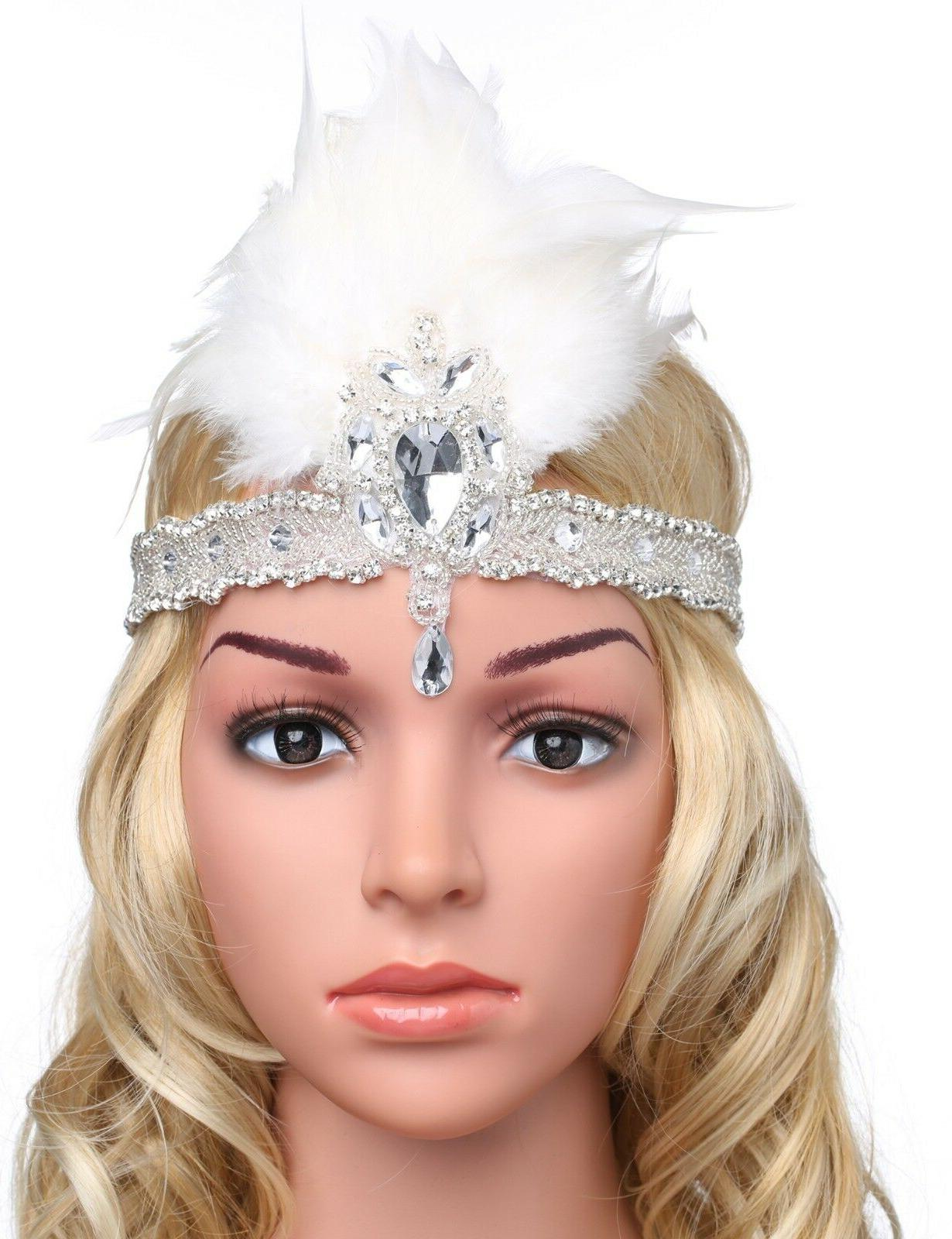 BABEYOND 1920s Headpiece 20s Feather Crystal Beaded