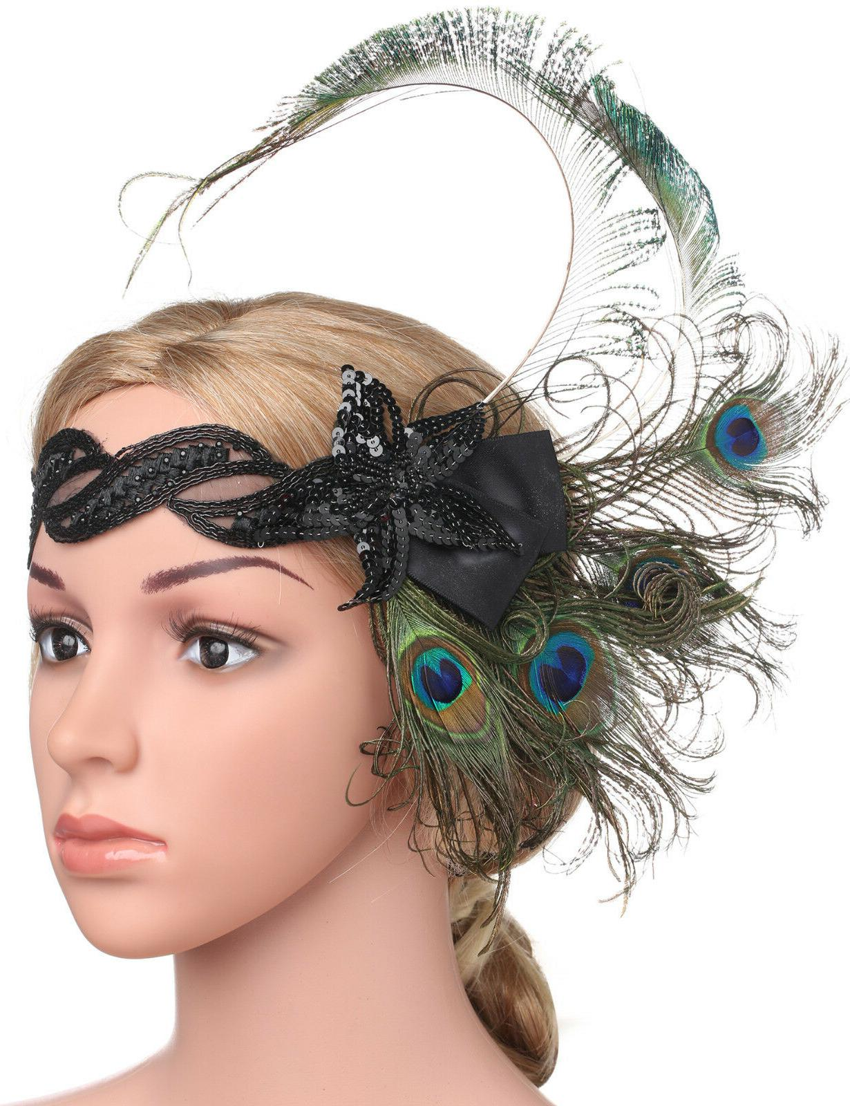 Feather Headband 20s Sequined Showgirl